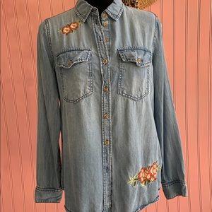 Embroidered Blue Button Up Denim Jean Shirt